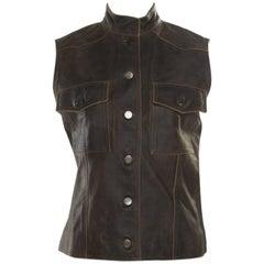 Chanel Vintage Dark Brown Calfskin Leather Button Front Vest M