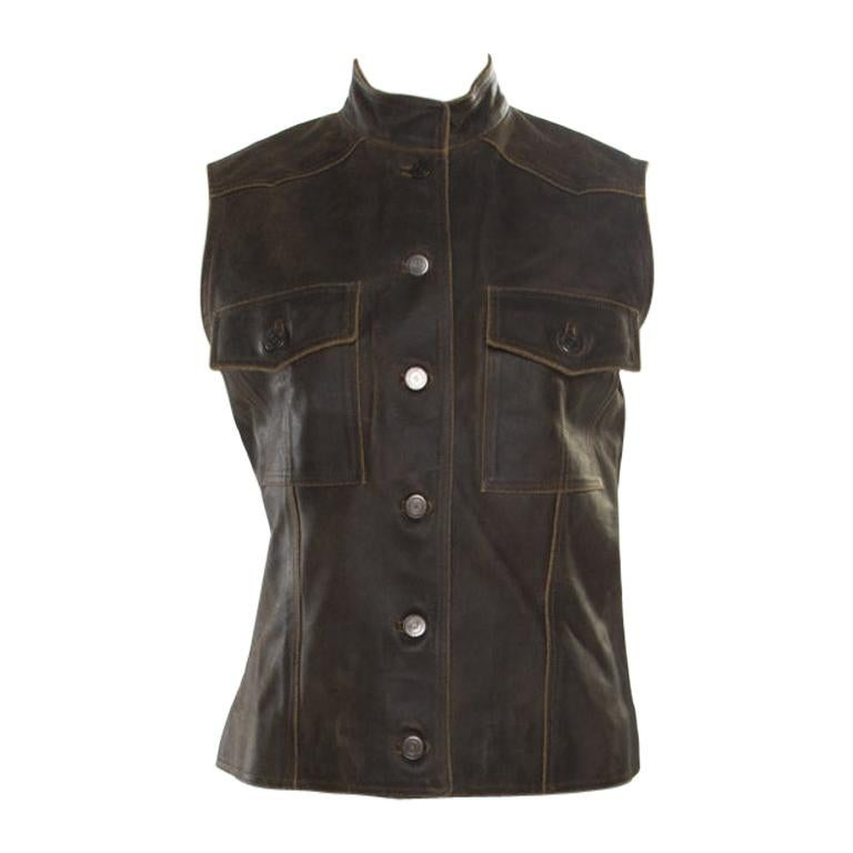 Chanel Vintage Dark Brown Calfskin Leather Button Front Vest M For Sale