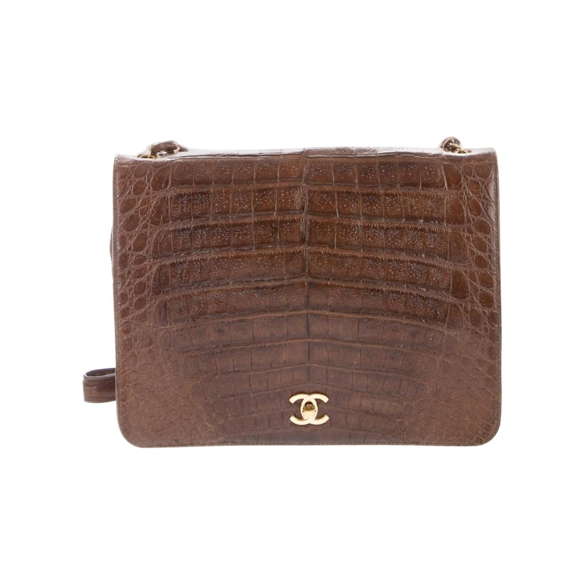 Chanel Vintage Dark Brown Cognac Crocodile Exotic Gold Medium Shoulder Flap Bag