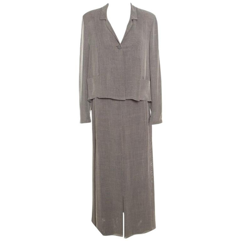 4d3e81b83ca1 Chanel Vintage Dark Grey Maxi Skirt Suit L For Sale at 1stdibs