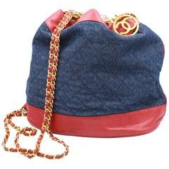 Chanel Vintage Denim & Red Leather Backpack
