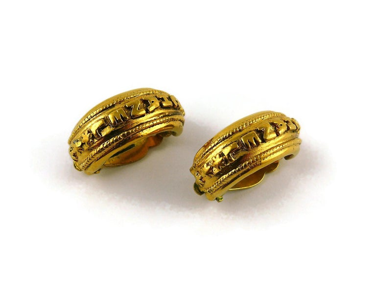 Chanel Vintage Detachable Gold Toned Hoop Earrings For Sale 1