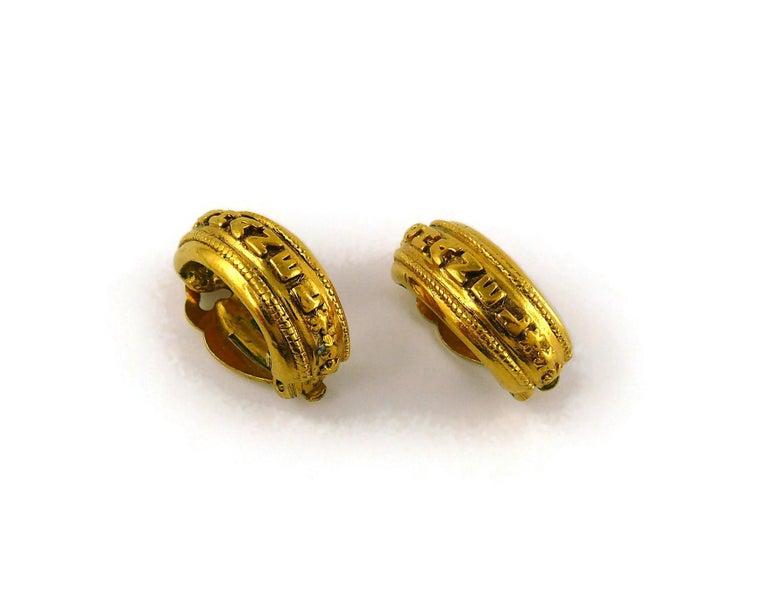 Chanel Vintage Detachable Gold Toned Hoop Earrings For Sale 2