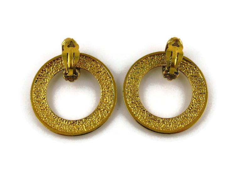 Chanel Vintage Detachable Gold Toned Hoop Earrings For Sale 3