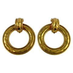 Chanel Vintage Detachable Hammered Gold Toned Hoop Earrings