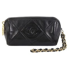 Chanel Vintage Diamond CC Barrel Clutch Quilted Leather Mini