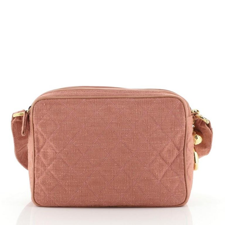 Chanel Vintage Diamond CC Camera Bag Quilted Canvas Small In Good Condition For Sale In New York, NY