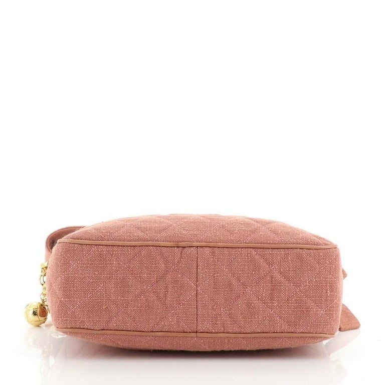 Women's or Men's Chanel Vintage Diamond CC Camera Bag Quilted Canvas Small For Sale