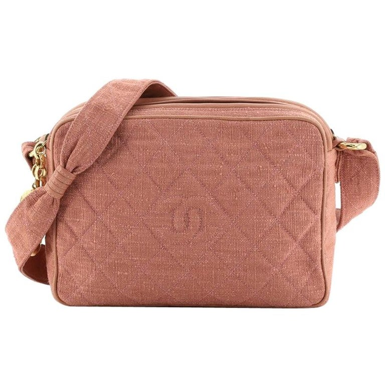 Chanel Vintage Diamond CC Camera Bag Quilted Canvas Small For Sale