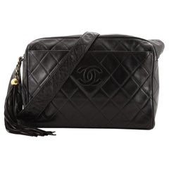 Chanel Vintage Diamond CC Camera Bag Quilted Lambskin Large