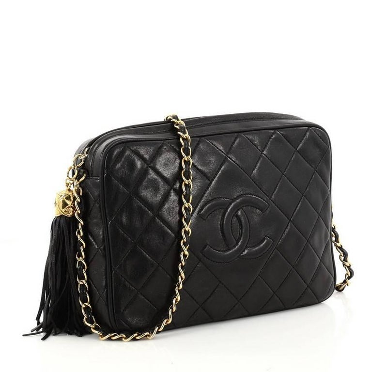Chanel Vintage Diamond Cc Camera Bag Quilted Leather Medium In Good Condition For New