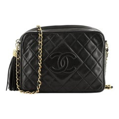 Chanel  Vintage Diamond CC Camera Bag Quilted Leather Medium