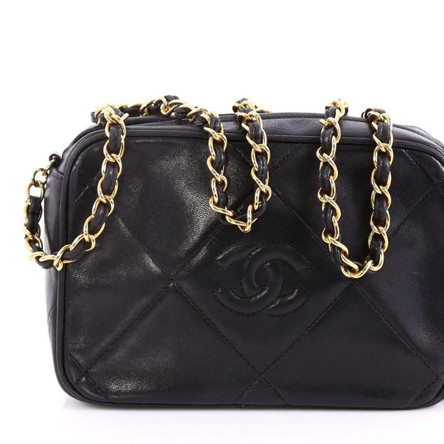 184eb685e436 Chanel Vintage Diamond CC Camera Bag Quilted Leather Small at 1stdibs
