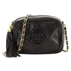 Chanel Vintage Diamond CC Camera Bag Quilted Leather Small