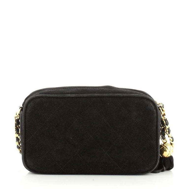 Chanel Vintage Diamond CC Camera Bag Quilted Suede Small In Good Condition For Sale In New York, NY