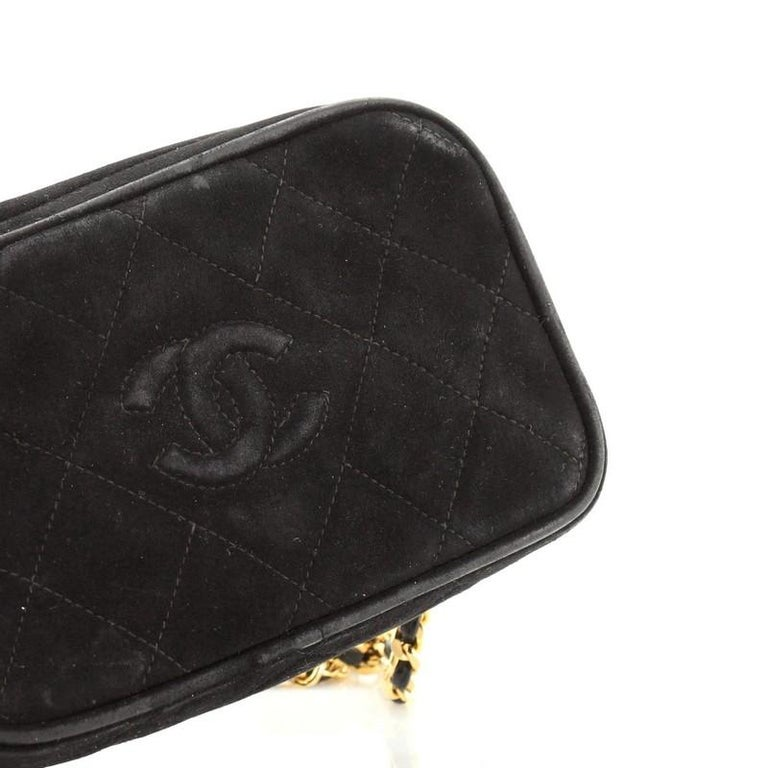 Chanel Vintage Diamond CC Camera Bag Quilted Suede Small For Sale 2