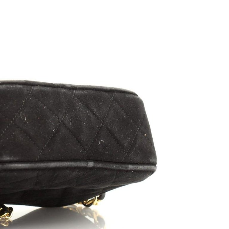 Chanel Vintage Diamond CC Camera Bag Quilted Suede Small For Sale 3
