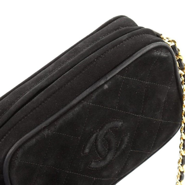 Chanel Vintage Diamond CC Camera Bag Quilted Suede Small For Sale 4
