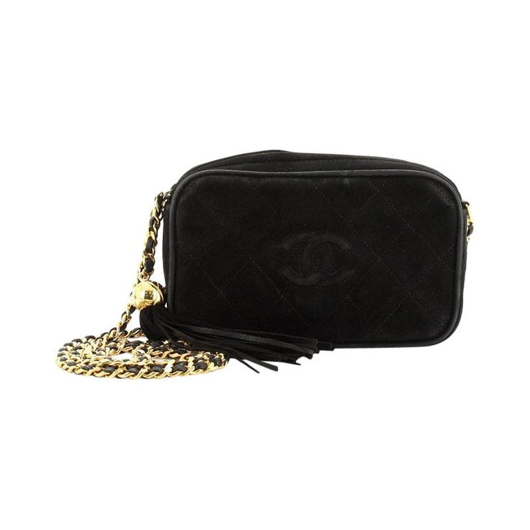 Chanel Vintage Diamond CC Camera Bag Quilted Suede Small For Sale