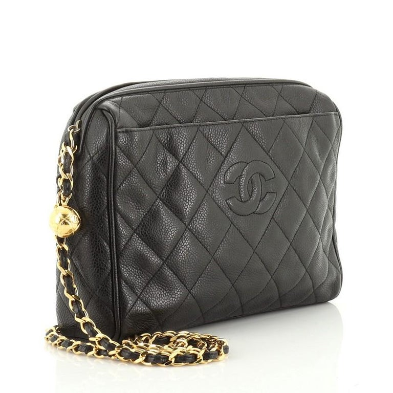 Black Chanel Vintage Diamond CC Camera Shoulder Bag Quilted Caviar Medium For Sale