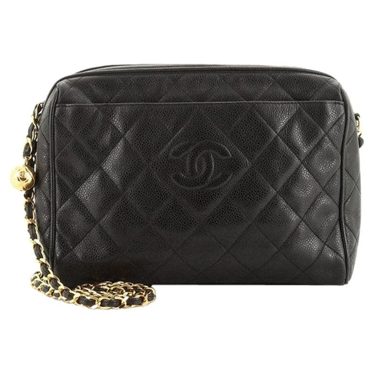 Chanel Vintage Diamond CC Camera Shoulder Bag Quilted Caviar Medium For Sale