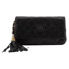 Chanel Vintage Diamond CC Tassel Flap Clutch Quilted Leather Small