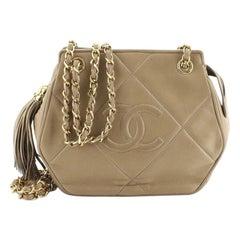 Chanel Vintage Diamond CC Tassel Shoulder Bag Quilted Leather Mini