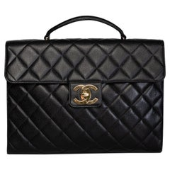 Chanel Vintage Diamond Quilted Black Caviar Leather Briefcase (circa 90s)