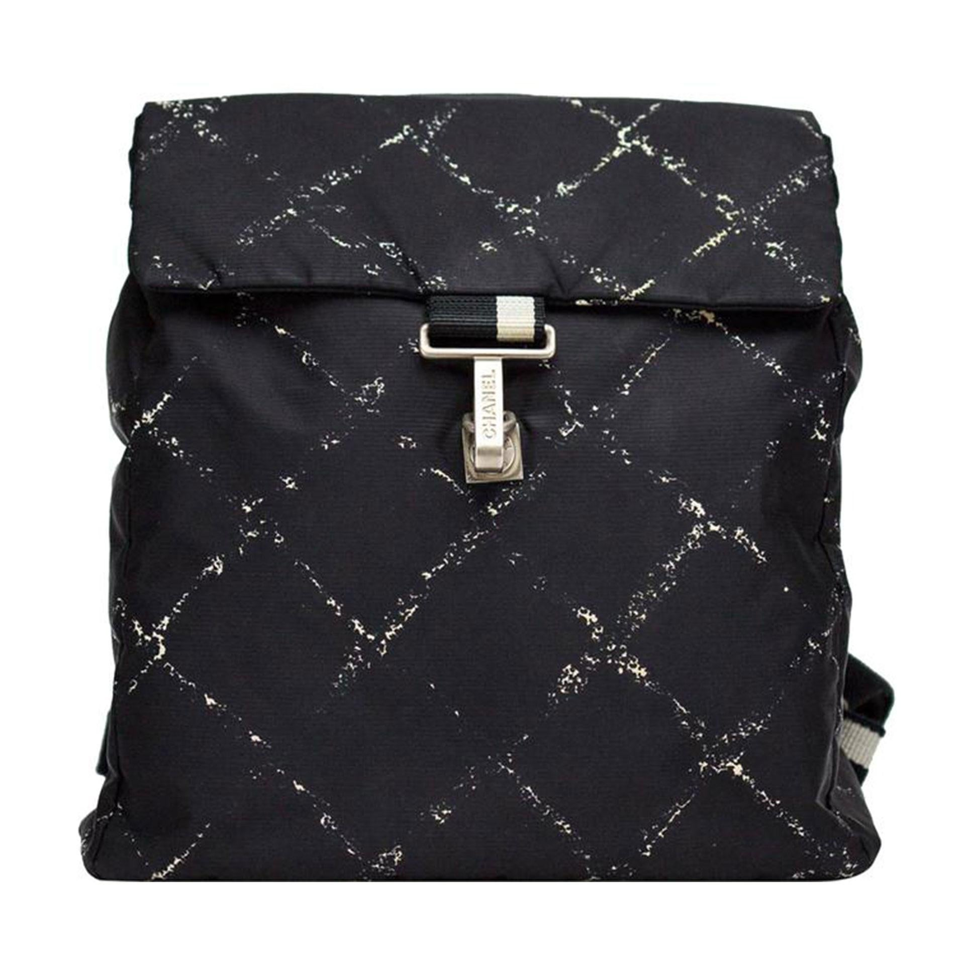 Chanel Vintage Diamond Quilted Graphic Stitched Black Nylon Backpack