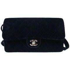 Chanel Vintage Diamond Quilted Navy Blue Velvet Backpack