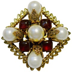 Chanel Vintage Diamond Shaped Filigree Pearl Gripoix Glass Brooch Pendant