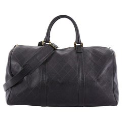 Chanel Vintage Diamond Stitch Boston Bag Quilted Caviar Large
