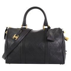 Chanel Vintage Diamond Stitch Boston Bag Quilted Lambskin Medium