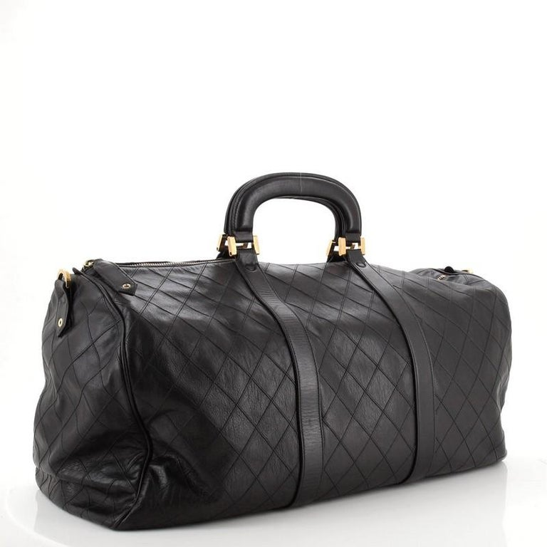 Black Chanel Vintage Diamond Stitch Boston Bag Quilted Lambskin XL For Sale