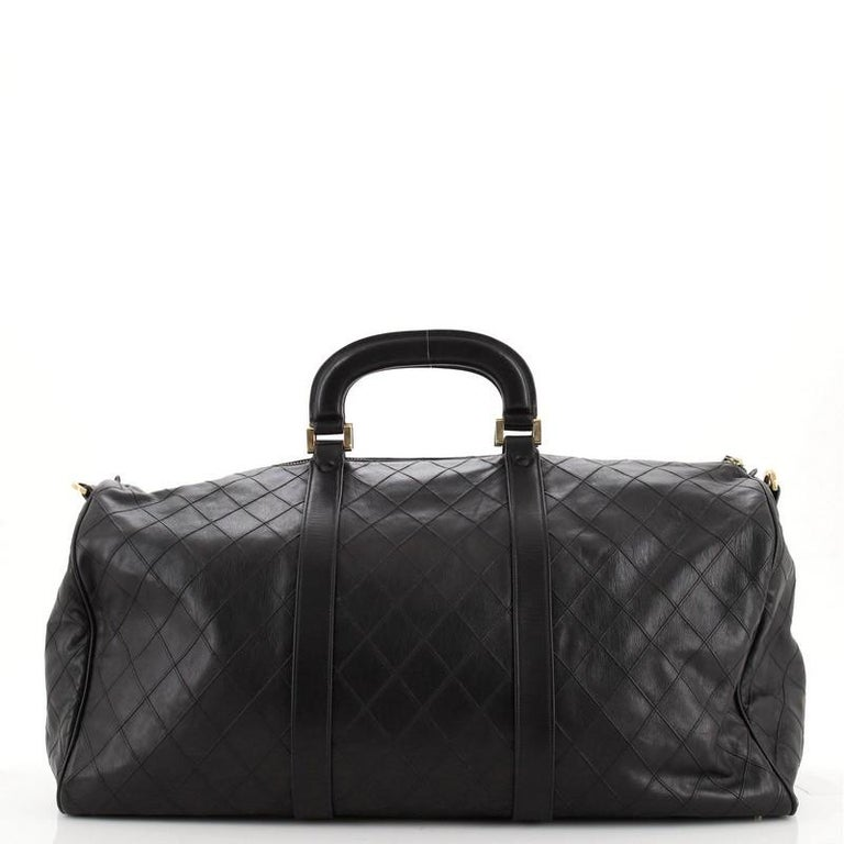 Chanel Vintage Diamond Stitch Boston Bag Quilted Lambskin XL In Good Condition For Sale In New York, NY