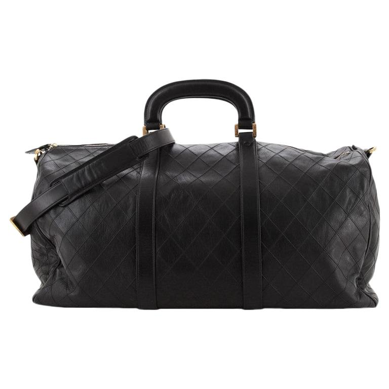 Chanel Vintage Diamond Stitch Boston Bag Quilted Lambskin XL For Sale