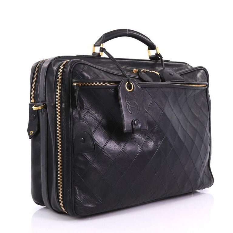 4b9f1d68f68b03 Black Chanel Vintage Diamond Stitch Weekender Quilted Leather Large For Sale