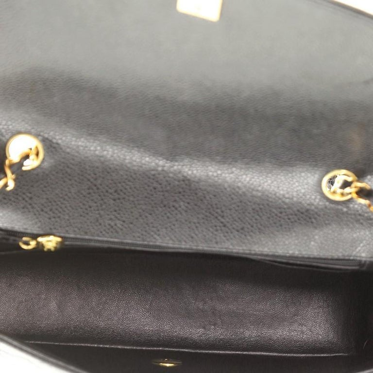 Chanel Vintage Diana Flap Bag Quilted Caviar Medium For Sale 2