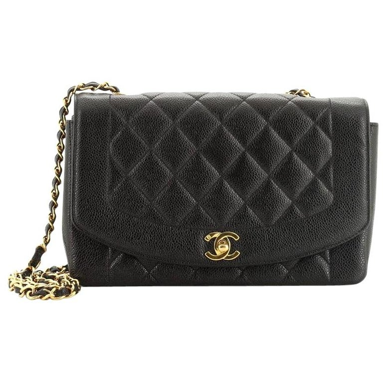 Chanel Vintage Diana Flap Bag Quilted Caviar Medium For Sale