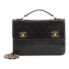 Chanel Vintage Double CC Turnlock Briefcase Bag Quilted Lambskin Small