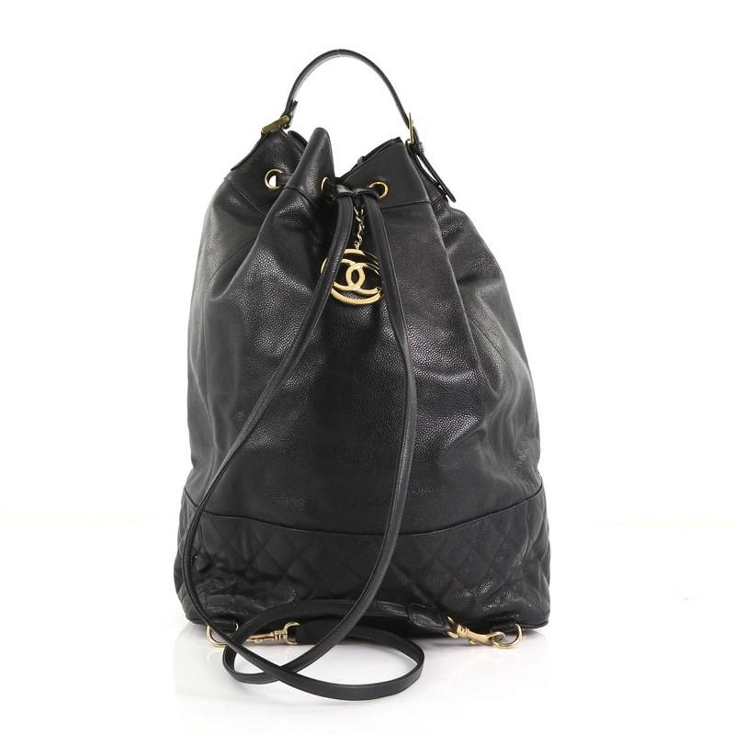 e208bbfc3937 Chanel Vintage Drawstring Backpack Quilted Caviar Large at 1stdibs