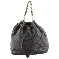 Chanel Vintage Drawstring Backpack Quilted Caviar Small