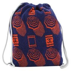 Chanel Vintage Drawstring Backpack Terry Cloth Medium
