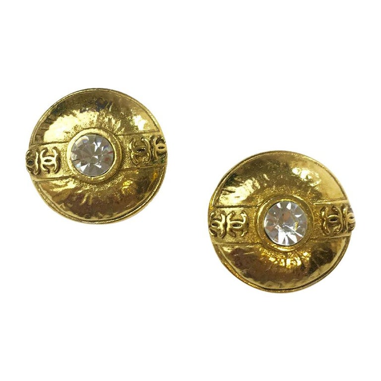 Chanel Vintage Earrings Clips In Gold Metal And Rhinestones For Sale