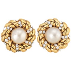 Chanel Vintage Earrings Collection 23 1980s Faux Pearl Crystal Round Clip On