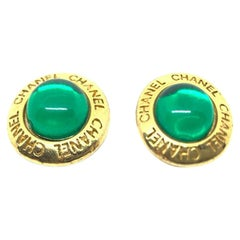 CHANEL Vintage Emerald Green Clips