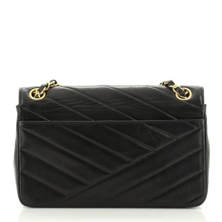 Women's or Men's Chanel Vintage Envelope Flap Bag Chevron Lambskin Medium  For Sale