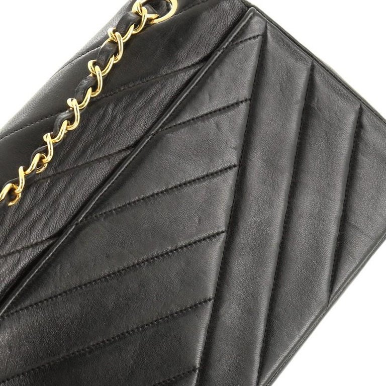 Chanel Vintage Envelope Flap Bag Chevron Lambskin Medium  For Sale 4