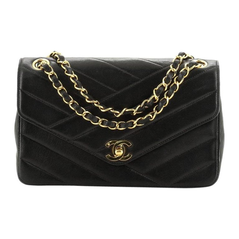 Chanel Vintage Envelope Flap Bag Chevron Lambskin Medium  For Sale