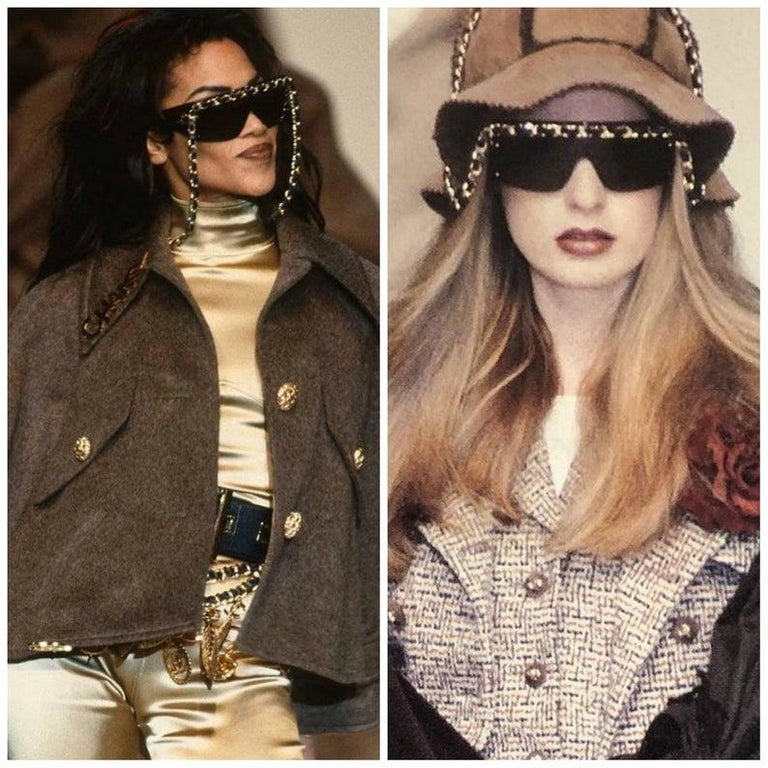 Chanel Vintage Fall Winter 1992 Iconic Runway Logo Leather Chain Drop Sunglasses For Sale 3